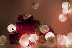Christmas decorations. Round electric Christmas lights. Stock Image
