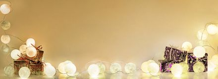 Christmas decorations. Round electric Christmas lights Stock Photo