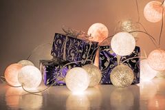 Round electric Christmas lights with some decor elements. Christmas decorations. Round electric Christmas lights with some decor elements Royalty Free Stock Images