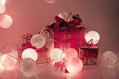 Round electric Christmas lights with some decor elements. Christmas decorations. Round electric Christmas lights with some decor elements stock photography