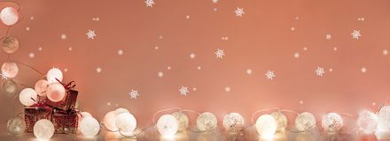 Christmas decorations. Round electric Christmas lights Royalty Free Stock Image
