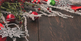 Christmas decorations  on a rustic wood background Stock Photo