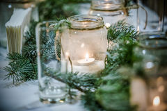 Christmas decorations on a rustic wood background Stock Image