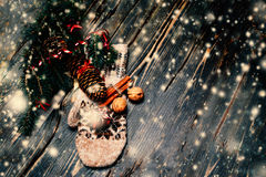 Christmas decorations on a rustic wood background, vintage retro Royalty Free Stock Images