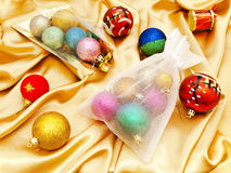 Christmas decorations with sacks Royalty Free Stock Photo