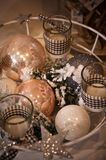 Christmas decorations for sale, candles and baubles Stock Photo