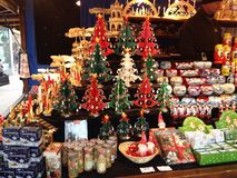Christmas decorations on sale in a market. Stock Photos
