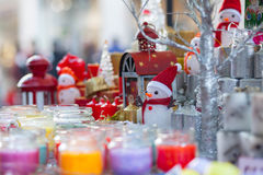 Christmas decorations sale street Stock Photography