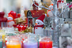 Christmas decorations sale street Royalty Free Stock Images