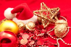 Christmas decorations, Santa Claus hat Royalty Free Stock Photography