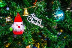 Christmas decorations,Santa Claus on the Christmas tree Stock Photo
