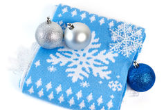 Christmas decorations and scarf Royalty Free Stock Images