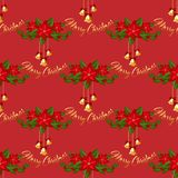 Christmas decorations seamless pattern. With gold bells, holly and poinsettia Christmas flower with Merry Christmas text on red background. Design decoration royalty free illustration