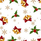 Christmas decorations seamless pattern with gold bells, ribbon and holly berries on white background. Design decoration for Merry Christmas holiday. Vector vector illustration
