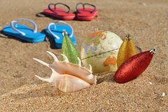 Christmas decorations and seashell Stock Photo