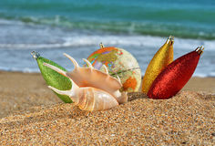 Christmas decorations and seashell on the beach Royalty Free Stock Photography