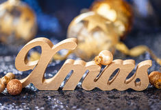 Christmas decorations on sequins Royalty Free Stock Photo