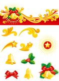Christmas decorations set. Christmas banner,   gold hand bells, holly leaves, bow and design ornament elements isolated on white background Royalty Free Stock Photo