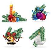 Christmas decorations set. Set of Christmas decorations elements isolated on a white background Stock Photo
