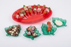 Christmas decorations set acrylic trays Royalty Free Stock Images