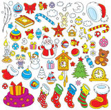 Christmas decorations. Set of colorful toys, balls and other objects for your holiday design Royalty Free Stock Photos