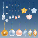 Christmas decorations set. Set of different christmas decorations. Perl, diamond, christmas balls, heart, stars. Vector illustration vector illustration