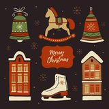 Christmas decorations and set elements. Royalty Free Stock Image