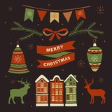 Christmas decorations and set elements. Christmas decorations and set elements: deer, house in the snow, holiday flags, Christmas toys. Merry christmas and vector illustration