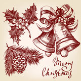 Christmas decorations set hand drawn vector llustration sketch Stock Photography