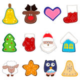 Christmas decorations. Set of christmas icon for decorations. Christmas toy hand made. Vector illustration Stock Photos