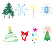 Christmas decorations. Set with 8 christmas decorations. illustration Royalty Free Stock Image
