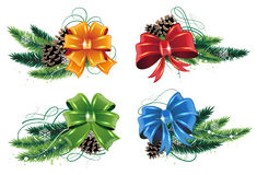 Christmas decorations set. Set of Christmas decorations with pine branches, cones and bows on white background Royalty Free Stock Images