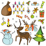 Christmas decorations set. Vector icons. Design elements collection. Cartoon objects. Snowmen,deer, pine tree,holly berry, gifts,. Garlands, sweets on white Vector Illustration