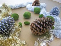 Christmas decorations - several aspects. /details Royalty Free Stock Photos