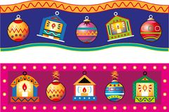 Christmas decorations in the shape of small house painted. Christmas decorations in the shape of small house piante Stock Photography