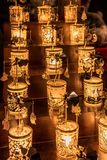 Christmas decorations in the shape of small lamps. Present at night Royalty Free Stock Images