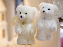 Christmas decorations in the shape of white teddy bears Stock Photography