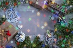 Beautiful christmas holiday background with white christmas deco Stock Images