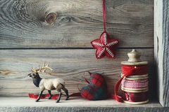 Christmas decorations on shelf Stock Photo