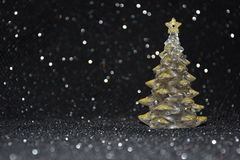 Christmas decorations on a shiny black background Royalty Free Stock Image