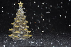Christmas decorations on a shiny black background Stock Photos