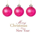 Christmas decorations with shiny red balls hanging   Isolated on Royalty Free Stock Image