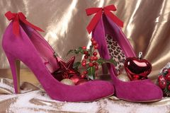 Christmas decorations with  shoes Royalty Free Stock Images