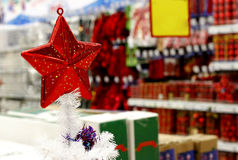 Christmas decorations shop Royalty Free Stock Photos