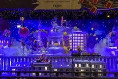 Christmas decorations in the shop window of a Parisian Printemps. PARIS, FRANCE - DECEMBER 12, 2017: Christmas decorations in the shop window of a Parisian Royalty Free Stock Photos