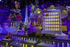 Christmas decorations in the shop window of a Parisian Printemps. PARIS, FRANCE - DECEMBER 12, 2017: Christmas decorations in the shop window of a Parisian Stock Photo