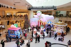 The Christmas decorations in the shopping mall. The Christmas decorations at the shopping mall Royalty Free Stock Image