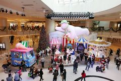The Christmas decorations in the shopping mall. The Christmas decorations at the shopping mall Royalty Free Stock Photo