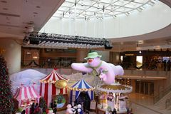 The Christmas decorations in the shopping mall. The Christmas decorations at the shopping mall Stock Images