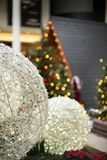 Christmas decorations with in the shopping mall. Santa`s house in the background with Christmas decorations set in the shopping mall Royalty Free Stock Photos